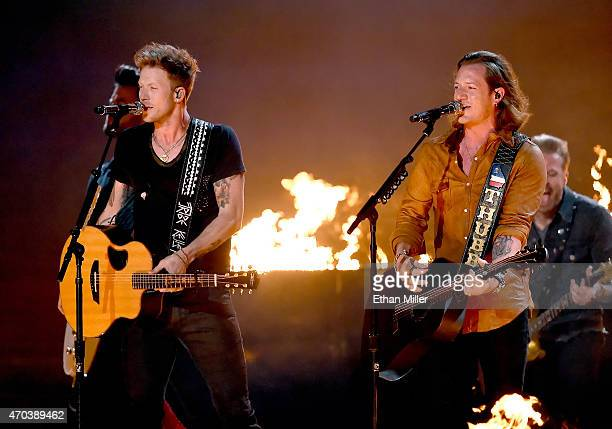 Recording artists Brian Kelley and Tyler Hubbard of Florida Georgia Line perform onstage during the 50th Academy of Country Music Awards at ATT...