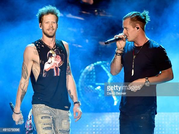 Recording artists Brian Kelley and Tyler Hubbard of Florida Georgia Line perform during the Route 91 Harvest country music festival at the Las Vegas...