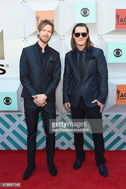 Recording artists Brian Kelley and Tyler Hubbard of Florida Georgia Line attend the 51st Academy of Country Music Awards at MGM Grand Garden Arena on...