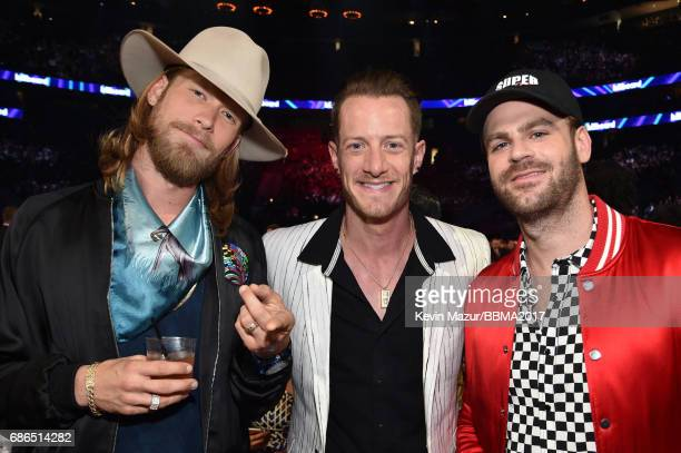Recording artists Brian Kelley and Tyler Hubbard of Florida Georgia Line and Alex Pall of The Chainsmokers attend the 2017 Billboard Music Awards at...