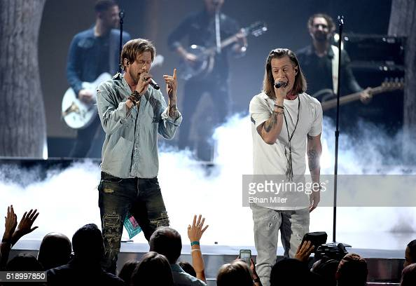 Recording artists Brian Kelley and Tyler Hubbard of music group Florida Georgia Line perform onstage during the 51st Academy of Country Music Awards...