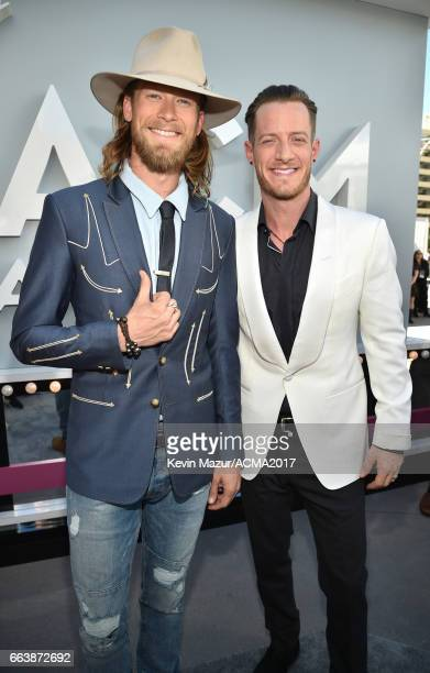 Recording artists Brian Kelley and Tyler Hubbard of music group Florida Georgia Line attend the 52nd Academy Of Country Music Awards at Toshiba Plaza...