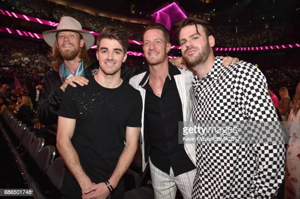 Recording artists Brian Kelley of Florida Georgia Line Andrew Taggart of The Chainsmokers Tyler Hubbard of Florida Georgia Line and Alex Pall of The...