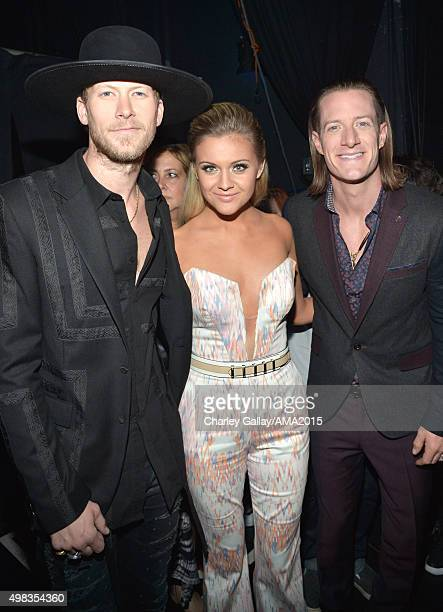 Recording artists Brian Kelley of Florida Georgia Line Kelsea Ballerini and Tyler Hubbard of Florida Georgia Line attend the 2015 American Music...