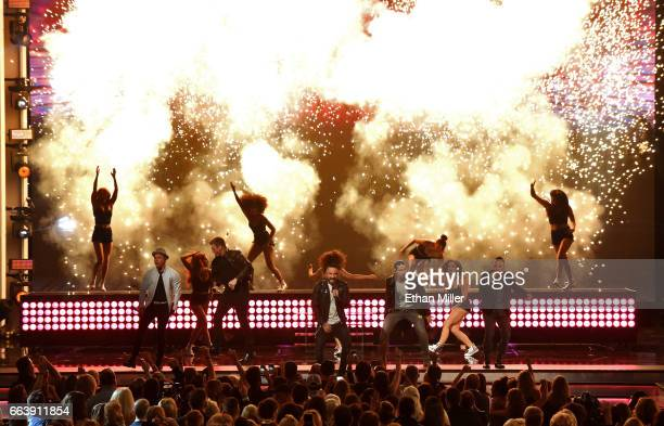 Recording artists Brian Littrell Nick Carter AJ McLean Kevin Richardson and Howie Dorough of music group Backstreet Boys perform onstage during the...