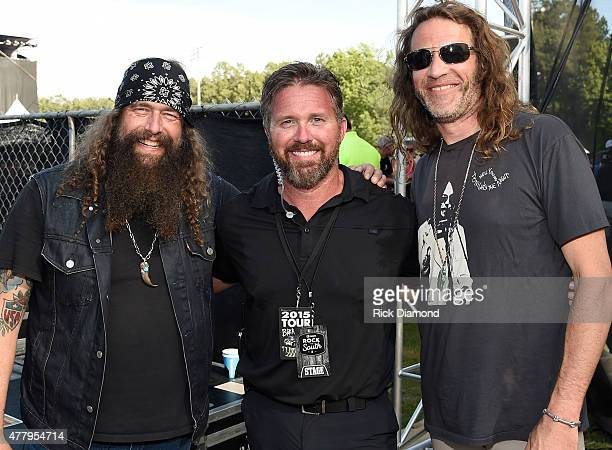 Recording Artists Brit Turner and Richard Turner/Blackberry Smoke with US Veteran Chad Fleming backstage during The 4th Annual Pepsi's Rock The South...