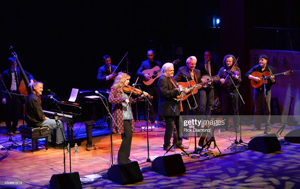 Recording Artists Bruce Hornsby, Alison Krauss, Ricky Skaggs, Del McCoury, Martain Hayes and Dennis Cahill along with Ricky's band Kentucky Thunder perform during Ricky Skaggs Day 2 - Bluegrass Rules at the CMA Theater on November 19, 2013 in Nashville, Tennessee. Skaggs was recently announced as the Country Music Hall of Fame and Museum's 2013 Artist-in-Residence.