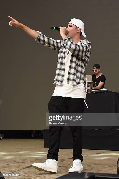 Recording artists Cal Shapiro and Rob Resnick of Timeflies perform onstage during the 2016 Billboard Hot 100 Festival Day 2 at Nikon at Jones Beach...