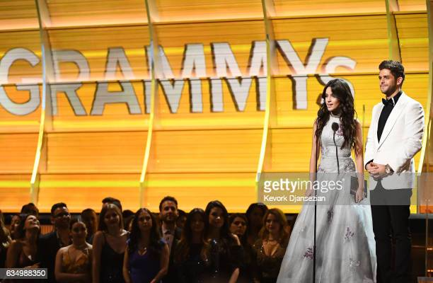 Recording artists Camila Cabello and Thomas Rhett speak onstage during The 59th GRAMMY Awards at STAPLES Center on February 12 2017 in Los Angeles...