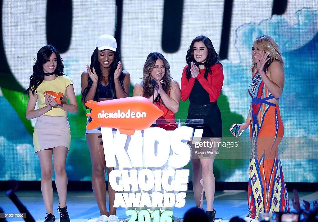 Recording artists Camila Cabello Normani Hamilton Ally Brooke Lauren Jauregui and DinahJane Hansen of music group Fifth Harmony accept the Favorite...