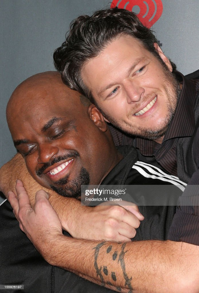 Recording artists Cee Lo Green (L) and <a gi-track='captionPersonalityLinkClicked' href=/galleries/search?phrase=Blake+Shelton&family=editorial&specificpeople=2352026 ng-click='$event.stopPropagation()'>Blake Shelton</a> attend NBC Universal's 'The Voice' Season 3 Red Carpet Event at The House of Blues Sunset Strip on November 8, 2012 in West Hollywood, California.