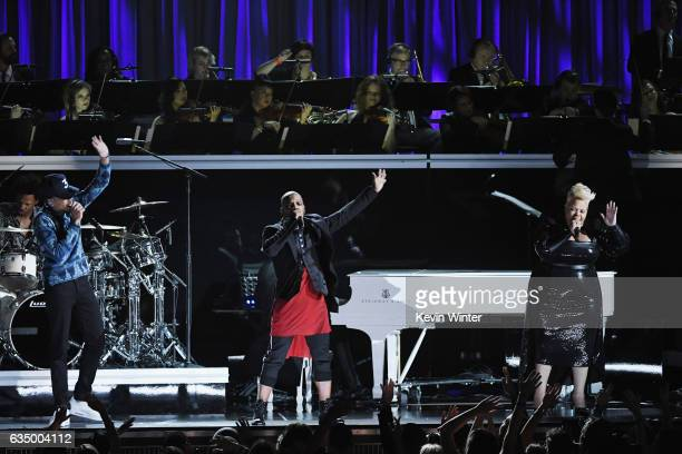Recording artists Chance the Rapper Kirk Franklin and Tamela Mann perform onstage during The 59th GRAMMY Awards at STAPLES Center on February 12 2017...
