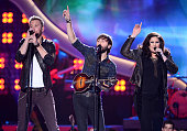 Recording artists Charles Kelley Dave Haywood and Hillary Scott of Lady Antebellum perform onstage during the American Country Awards 2013 at the...
