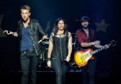 Recording artists Charles Kelley Hillary Scott and Dave Haywood of Lady Antebellum perform at The Joint inside the Hard Rock Hotel Casino as the...