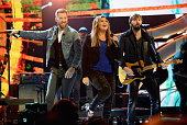 Recording artists Charles Kelley Hillary Scott and Dave Haywood of Lady Antebellum perform onstage during The 41st Annual People's Choice Awards at...