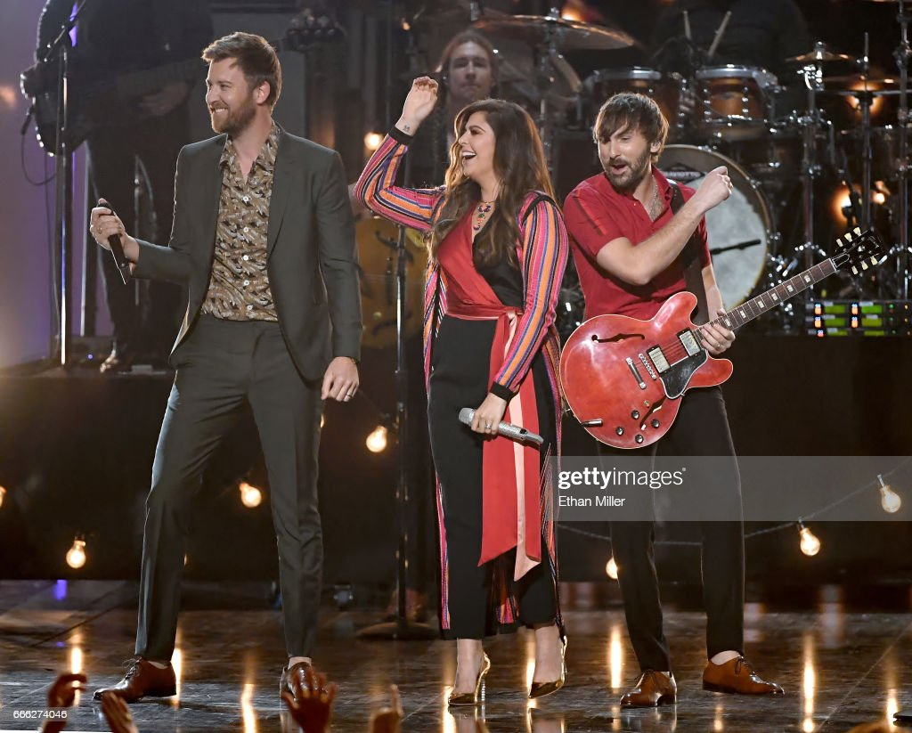 Recording artists Charles Kelley, Hillary Scott and Dave Haywood of Lady Antebellum perform during the 52nd Academy of Country Music Awards at T-Mobile Arena on April 2, 2017 in Las Vegas, Nevada.