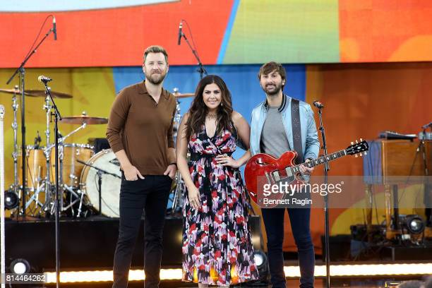 Recording artists Charles Kelley Hillary Scott and Dave Haywood of Lady Antebellum perform on ABC's 'Good Morning America' at Rumsey Playfield on...