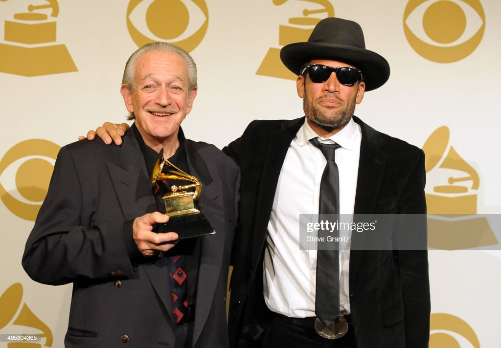 Recording artists Charlie Musselwhite and Ben Harper pose in the press room during th 56th GRAMMY Awards at Staples Center on January 26 2014 in Los...