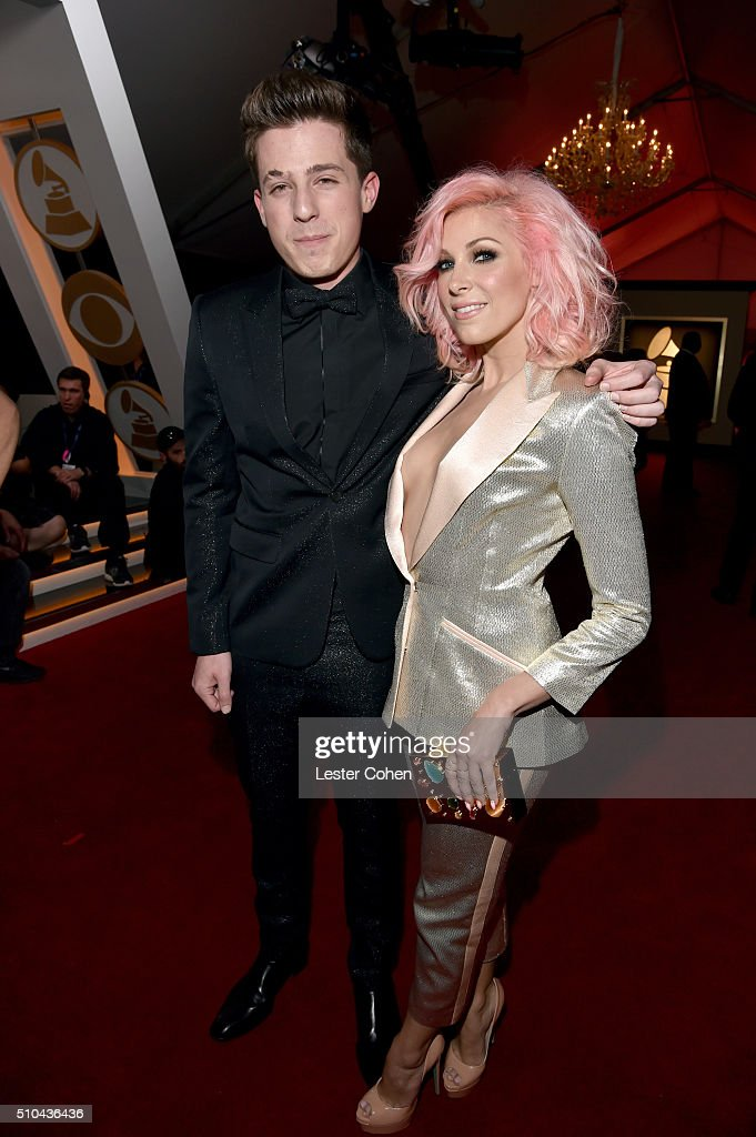 Recording artists Charlie Puth and Bonnie McKee attend The 58th GRAMMY Awards at Staples Center on February 15 2016 in Los Angeles California