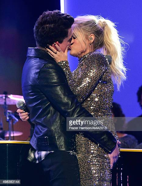 Recording artists Charlie Puth and Meghan Trainor perform onstage during the 2015 American Music Awards at Microsoft Theater on November 22 2015 in...