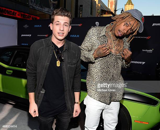 Recording artists Charlie Puth and Wiz Khalifa attend the Furious 7 Los Angeles Premiere Sponsored by Dodge at TCL Chinese 6 Theatres on April 1 2015...