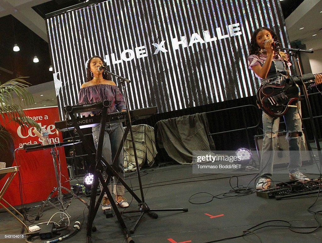Recording artists Chloe Bailey (L) and Halle Bailey perform at the Coke music studio during the 2016 BET Experience on June 25, 2016 in Los Angeles, California.