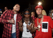 Recording artists Chris Brown Lil Wayne and Tyga attend the BET AWARDS '14 at Nokia Theatre LA LIVE on June 29 2014 in Los Angeles California