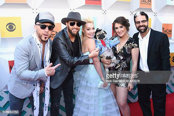 Recording artists Chris Lucas and Preston Brust of LOCASH RaeLynn Doug the Pug and owner Leslie Mosier and guest attend the 51st Academy of Country...