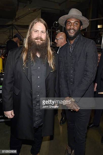 Recording artists Chris Stapleton and Gary Clark Jr attend The 58th GRAMMY Awards at Staples Center on February 15 2016 in Los Angeles California