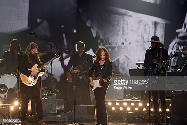 Recording artists Chris Stapleton Bonnie Raitt and Gary Clark Jr perform onstage during The 58th GRAMMY Awards at Staples Center on February 15 2016...