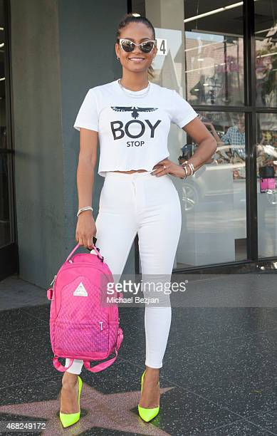 Recording Artists Christina Milian attends LA Gear And TYGA Present The Liquid Gold Shoe Launch At Shiekh Shoes on March 31 2015 in Los Angeles...