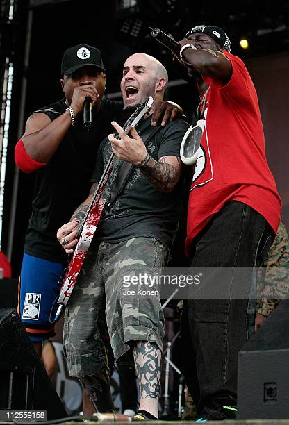 Recording artists Chuck D and Flavor Flav of the Hip Hop group 'Public Enemy' joined by guitarist Scott Ian of Anthrax perform during the '2007 Rock...