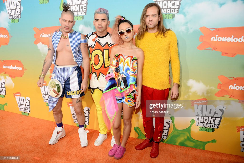 Recording artists Cole Whittle Joe Jonas JinJoo Lee and Jack Lawless of music group DNCE attend Nickelodeon's 2016 Kids' Choice Awards at The Forum...