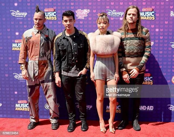 Recording artists Cole Whittle Joe Jonas JinJoo Lee and Jack Lawless of DNCE attend the 2016 Radio Disney Music Awards at Microsoft Theater on April...