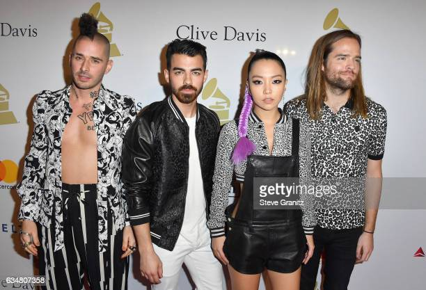 Recording artists Cole Whittle Joe Jonas JinJoo Lee and Jack Lawless of DNCE attend PreGRAMMY Gala and Salute to Industry Icons Honoring Debra Lee at...