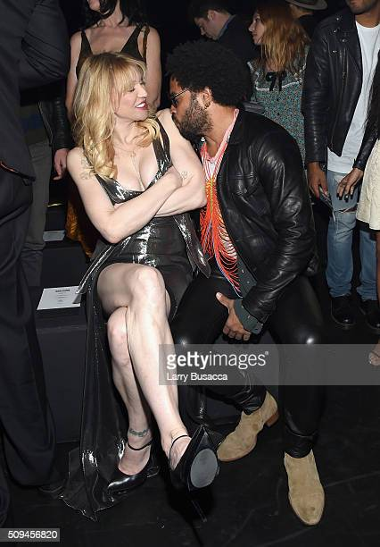 Recording artists Courtney Love in Saint Laurent by Hedi Slimane and Lenny Kravitz attend Saint Laurent at the Palladium on February 10 2016 in Los...