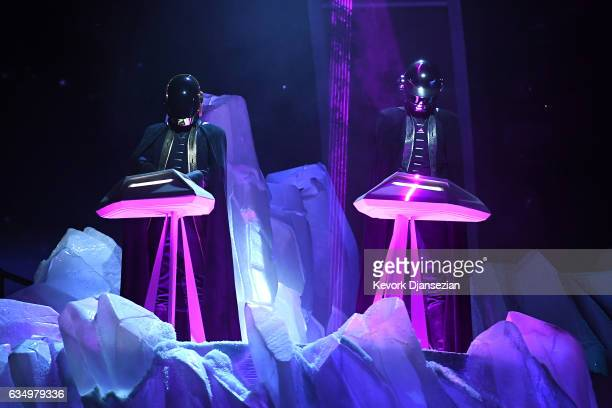 Recording artists Daft Punk perform onstage during The 59th GRAMMY Awards at STAPLES Center on February 12 2017 in Los Angeles California