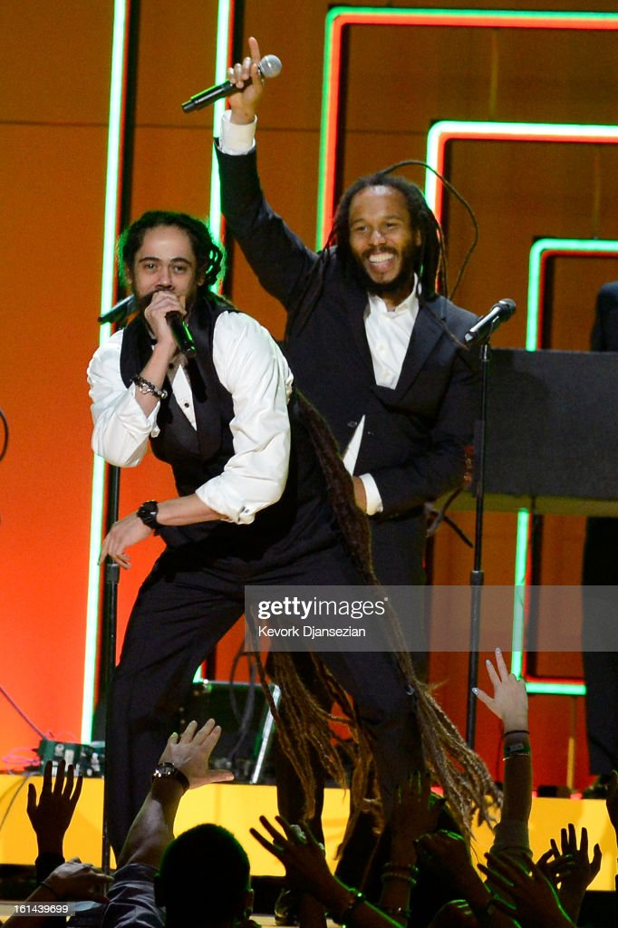 Recording artists <a gi-track='captionPersonalityLinkClicked' href=/galleries/search?phrase=Damian+Marley&family=editorial&specificpeople=224631 ng-click='$event.stopPropagation()'>Damian Marley</a> (L) and <a gi-track='captionPersonalityLinkClicked' href=/galleries/search?phrase=Ziggy+Marley&family=editorial&specificpeople=161393 ng-click='$event.stopPropagation()'>Ziggy Marley</a> perform onstage at the 55th Annual GRAMMY Awards at Staples Center on February 10, 2013 in Los Angeles, California.