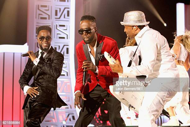 Recording artists Damion Hall and Aaron Hall of Guy and recording artist Teddy Riley perform onstage during the 2016 Soul Train Music Awards at the...