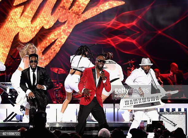 Recording artists Damion Hall and Aaron Hall of Guy and recording artist Teddy Riley perform onstage during the 2016 Soul Train Music Awards on...