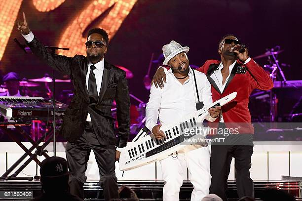 Recording artists Damion Hall Teddy Riley and Aaron Hall perform onstage during the 2016 Soul Train Music Awards on November 6 2016 in Las Vegas...