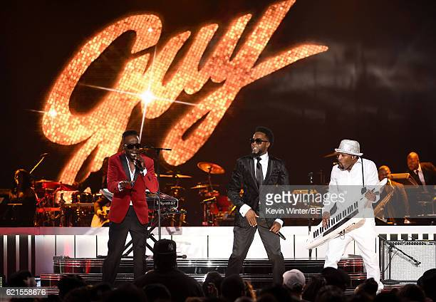 Recording artists Damoin Hall and Aaron Hall of Guy and recording artist Teddy Riley perform onstage during the 2016 Soul Train Music Awards on...