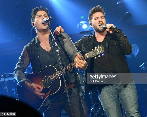 Recording artists Dan Smyers and Shay Mooney of Dan Shay perform onstage during iHeartRadio Country Festival in Austin at the Frank Erwin Center on...