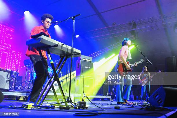 Recording artists Danny Ayala Michael D'Addario and Megan Zeankowski of The Lemon Twigs perform onstage at That Tent during Day 1 of the 2017...