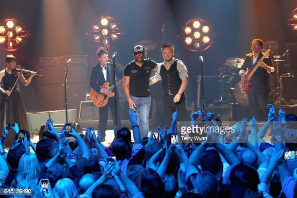 Recording artists Darius Rucker and John Mellencamp perform onstage during CMT Crossroads John Mellencamp and Darius Rucker on February 24 2017 in...