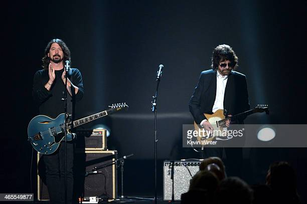 Recording artists Dave Grohl and Jeff Lynne perform onstage during 'The Night That Changed America A GRAMMY Salute To The Beatles' at the Los Angeles...