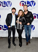 Recording artists Dave Haywood Hillary Scott and Charles Kelley of Lady Antebellum arrive at a meetngreet at DLVEC the Downtown Events Center on...