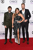 Recording artists Dave Haywood Hillary Scott and Charles Kelley of music group Lady Antebellum attend The 41st Annual People's Choice Awards at Nokia...