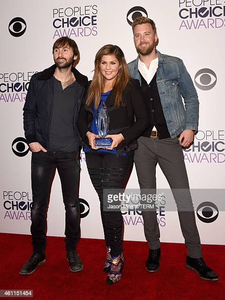 Recording artists Dave Haywood Hillary Scott and Charles Kelley of Lady Antebellum pose in the press room at The 41st Annual People's Choice Awards...