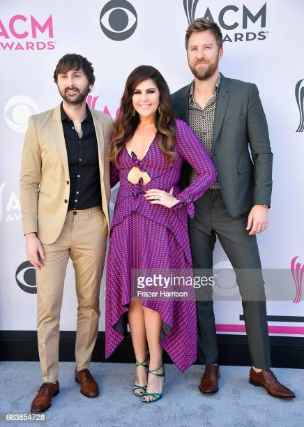 Recording artists Dave Haywood Hillary Scott and Charles Kelley of music group Lady Antebellum attend the 52nd Academy Of Country Music Awards at...